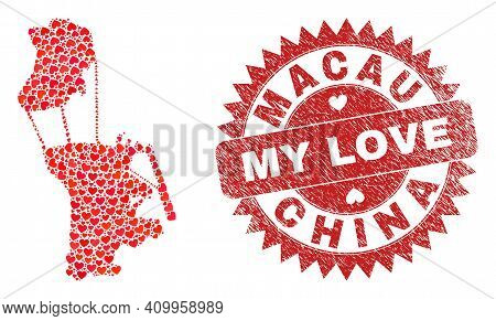 Vector Mosaic Macau Map Of Love Heart Elements And Grunge My Love Seal. Collage Geographic Macau Map