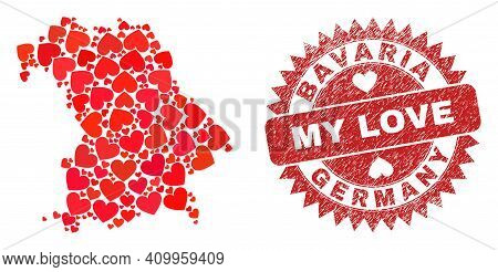 Vector Mosaic Bavaria Land Map Of Lovely Heart Items And Grunge My Love Badge. Mosaic Geographic Bav