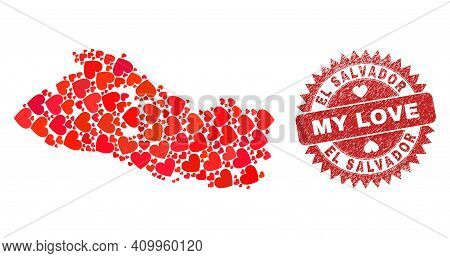 Vector Collage El Salvador Map Of Love Heart Elements And Grunge My Love Badge. Mosaic Geographic El