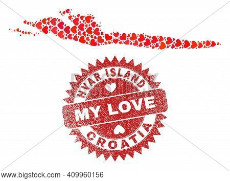 Vector Collage Hvar Island Map Of Love Heart Elements And Grunge My Love Seal Stamp. Collage Geograp