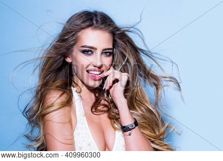 Beauty Woman With Smiling Face. Beautiful Cheerful And Enjoying Woman. Beautiful Portrait Of Young G