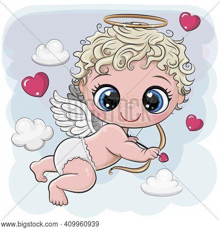 Cute Cartoon Cupid With Bow And Arrow On A Blue Background