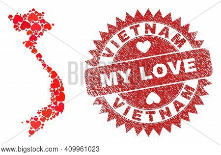 Vector Collage Vietnam Map Of Love Heart Items And Grunge My Love Seal. Mosaic Geographic Vietnam Ma