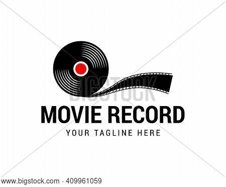 Movie Record, Multimedia Vinyl Record Logo Vector
