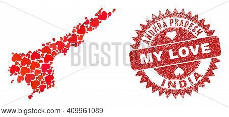 Vector Mosaic Andhra Pradesh State Map Of Lovely Heart Items And Grunge My Love Seal Stamp. Mosaic G