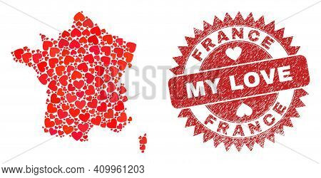 Vector Collage France Map Of Valentine Heart Elements And Grunge My Love Seal Stamp. Mosaic Geograph