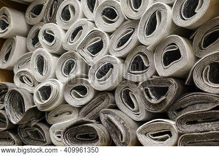 Lots Of Rolls Of Polyethylene Foam Base. Repair Materials. Insulation Floor In Roll. Rolls With Insu