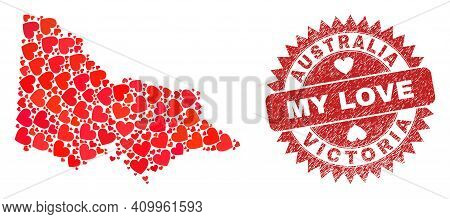 Vector Mosaic Australian Victoria Map Of Love Heart Items And Grunge My Love Seal Stamp. Mosaic Geog