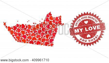 Vector Collage Abu Dhabi Emirate Map Of Love Heart Elements And Grunge My Love Stamp. Collage Geogra