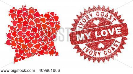 Vector Mosaic Ivory Coast Map Of Valentine Heart Items And Grunge My Love Seal Stamp. Mosaic Geograp