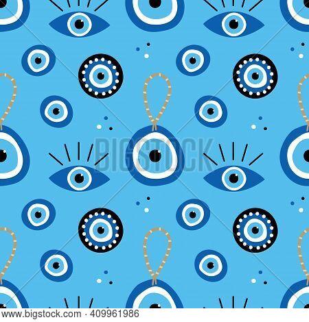 Turkish Blue Eye-shaped Amulets, Nazar Talismans, Charms Vector Cartoon Style Seamless Pattern Backg