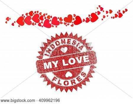 Vector Collage Flores Islands Of Indonesia Map Of Valentine Heart Items And Grunge My Love Badge. Co