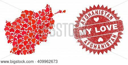 Vector Collage Afghanistan Map Of Lovely Heart Items And Grunge My Love Badge. Collage Geographic Af