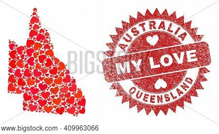 Vector Collage Australian Queensland Map Of Valentine Heart Items And Grunge My Love Badge. Collage