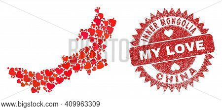 Vector Collage Inner Mongolia Map Of Valentine Heart Items And Grunge My Love Stamp. Mosaic Geograph