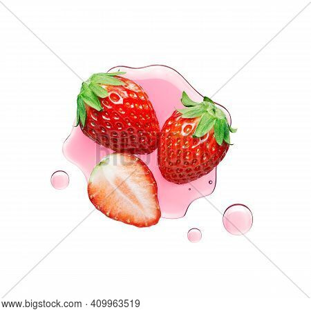 Fresh Strawberry With Juice Over White Background - Top View