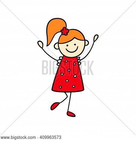 Funny Little Girl In A Red Dress With Her Hands Up. Cute Kid Drawing. Hand Drawn Vector Illustration