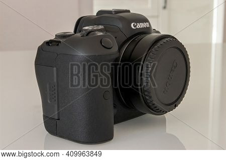 Frankfurt, Germany - 25th February 2021: A German Photographer Unboxes His New Canon Eos R6 After Ge