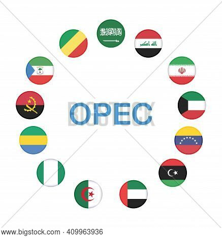 Opec Members Countries National Flags. Opec Members Countries Flags With 13 Members Flags . Opec Mem