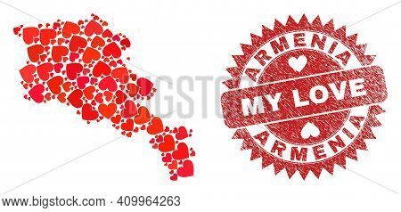 Vector Mosaic Armenia Map Of Love Heart Items And Grunge My Love Seal Stamp. Collage Geographic Arme