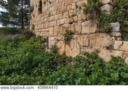 The Outer Walls Of The Ruins Of Crusader Fortress Chateau Neuf - Metsudat Hunin Is Located At The En