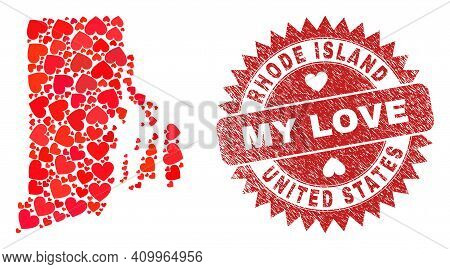 Vector Collage Rhode Island State Map Of Love Heart Elements And Grunge My Love Seal Stamp. Mosaic G