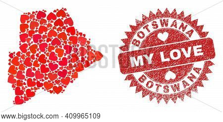 Vector Collage Botswana Map Of Love Heart Elements And Grunge My Love Seal. Collage Geographic Botsw