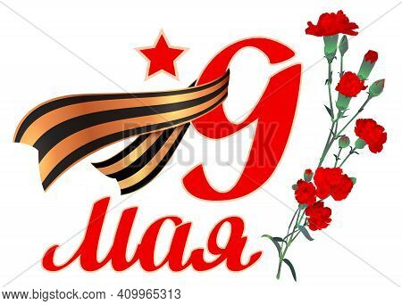 May 9 Victory Day Text Russian Veterans Day. Red Carnation Bouquet St. George Ribbon Symbol Of Victo