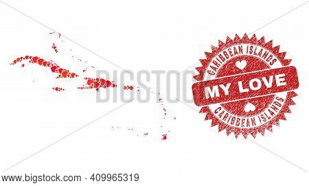 Vector Collage Caribbean Islands Map Of Lovely Heart Items And Grunge My Love Seal Stamp. Collage Ge