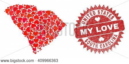 Vector Mosaic South Carolina State Map Of Valentine Heart Items And Grunge My Love Badge. Mosaic Geo