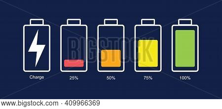 Battery Icon Set. Vector Illustration. Discharged And Fully Charged Battery Smartphone. Set Of Batte