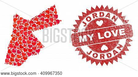 Vector Collage Jordan Map Of Lovely Heart Elements And Grunge My Love Seal. Collage Geographic Jorda