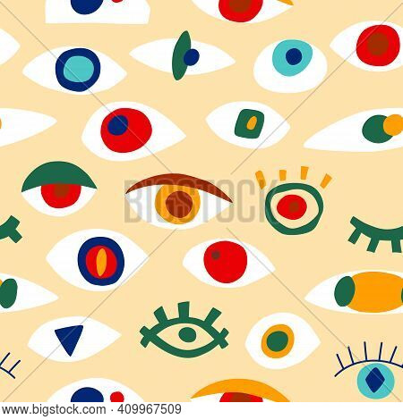 Eye Abstract Pattern With Geometric Shapes In Contemporary Style. Vector Greek Seamless Pattern With