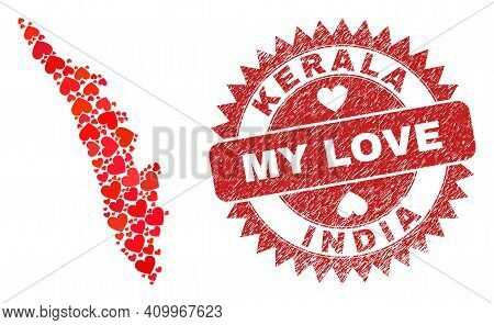 Vector Mosaic Kerala State Map Of Love Heart Elements And Grunge My Love Badge. Collage Geographic K