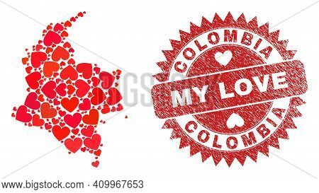 Vector Collage Colombia Map Of Love Heart Elements And Grunge My Love Seal. Collage Geographic Colom