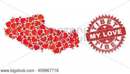 Vector Mosaic Tibet Map Of Love Heart Items And Grunge My Love Badge. Mosaic Geographic Tibet Map Co