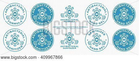 Concept For Product Packaging. Marking - Antibacterial Formula. Microorganism Icon With Medical Cros