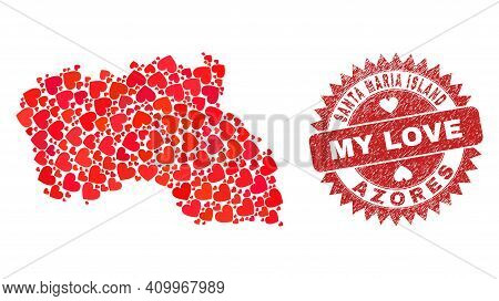 Vector Collage Santa Maria Island Map Of Valentine Heart Elements And Grunge My Love Seal. Collage G