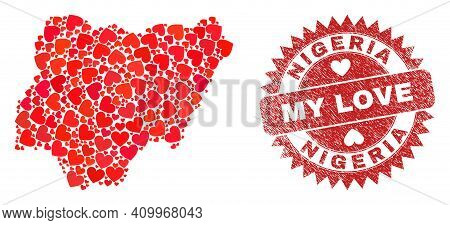 Vector Mosaic Nigeria Map Of Valentine Heart Items And Grunge My Love Seal Stamp. Mosaic Geographic