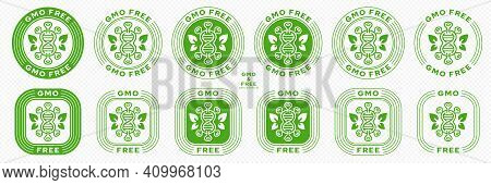 Concept For Product Packaging. Labeling - Gmo-free. Molecule Or Microorganism Icon With Gene And Lea