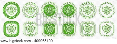 Concept For Product Packaging. Labeling - Gmo-free. Molecule Or Microorganism Icon With Gene And Win