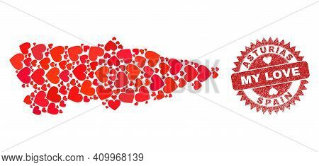 Vector Collage Asturias Province Map Of Valentine Heart Items And Grunge My Love Stamp. Collage Geog
