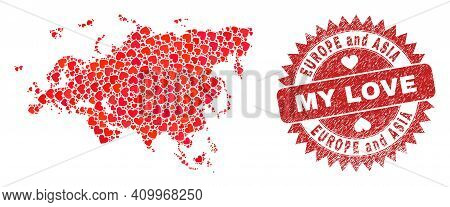 Vector Mosaic Europe And Asia Map Of Valentine Heart Items And Grunge My Love Seal. Mosaic Geographi