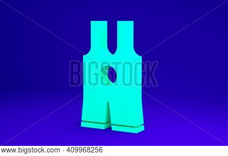 Green Wrestling Singlet Icon Isolated On Blue Background. Wrestling Tricot. Minimalism Concept. 3d I