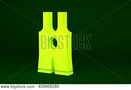 Yellow Wrestling Singlet Icon Isolated On Green Background. Wrestling Tricot. Minimalism Concept. 3d