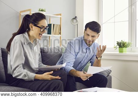 Couple Laughing At Nonsensical Bank Letter And Ridiculous Contract Terms And Conditions