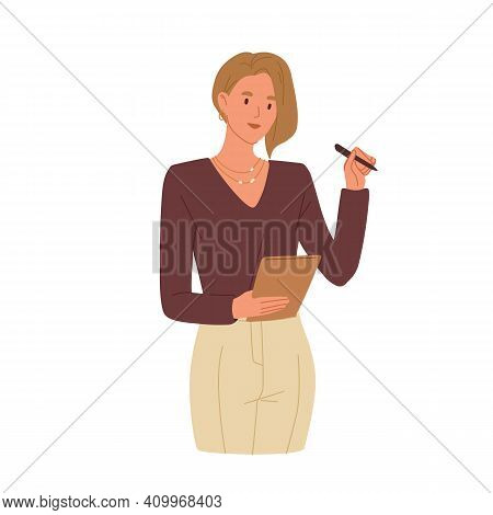 Young Smiling Woman Taking Notes. Secretary Writing Down Tasks In Notepad. Colored Flat Vector Illus