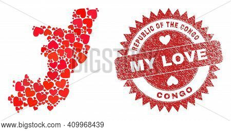 Vector Mosaic Republic Of The Congo Map Of Love Heart Items And Grunge My Love Stamp. Mosaic Geograp