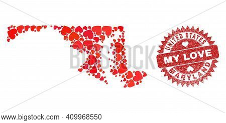 Vector Mosaic Maryland State Map Of Valentine Heart Items And Grunge My Love Badge. Mosaic Geographi