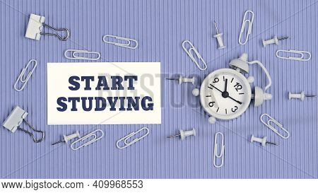 Start Studying - Concept Of Text On Business Card. Closeup Of A Personal Agenda